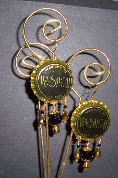 Beer Cap Earrings - Black Wasatch 01Eee