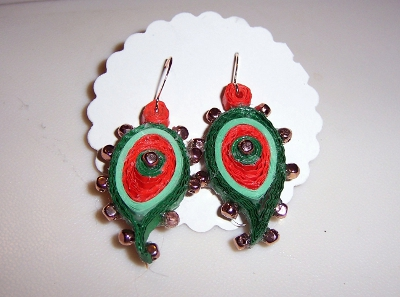 Quilled Earrings - Paisley 01Bbbb